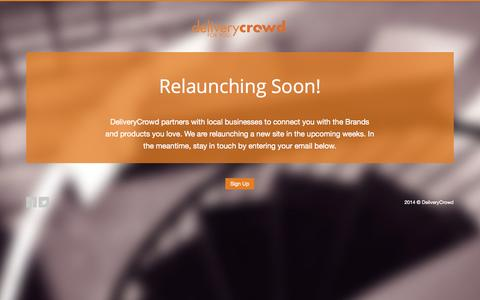 Screenshot of Home Page deliverycrowd.com - DeliveryCrowd | Coming Soon Page.. - captured Sept. 30, 2014