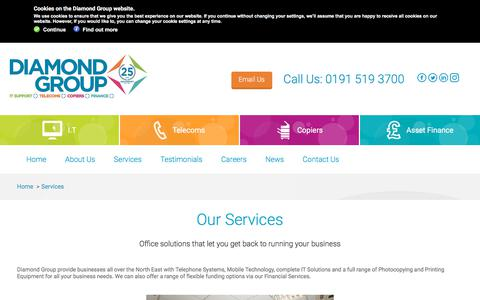 Screenshot of Services Page diamond-group.net - Diamond Group   Services   Photocopiers   Telecoms   IT Support - captured Feb. 12, 2018