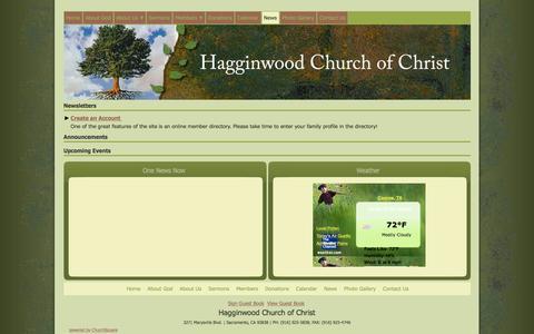 Screenshot of Press Page churchofchristhagginwood.org - Hagginwood Church of Christ - Sacramento, CA - News - captured March 16, 2016