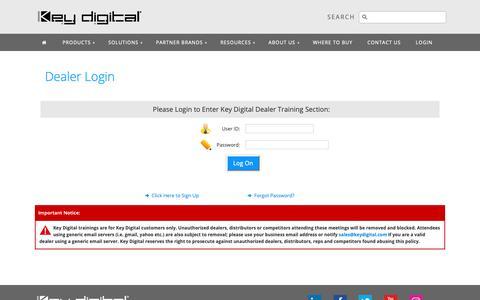 Screenshot of Login Page keydigital.com - Key Digital® - Online Dealer Training Login - captured Oct. 15, 2018