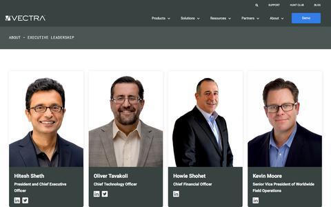Screenshot of Team Page vectra.ai - Vectra AI - Executive leadership - captured Aug. 12, 2019