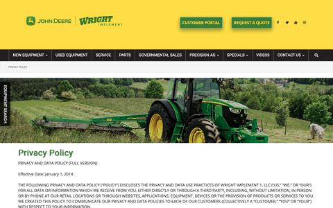 Screenshot of Privacy Page wrightimp.com - Privacy Policy | Wright Implement - captured Nov. 15, 2018
