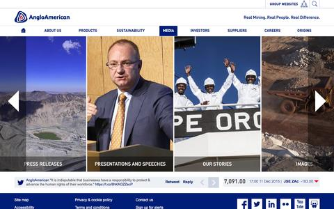 Screenshot of Press Page angloamerican.com - Media � Anglo American - captured Dec. 12, 2015