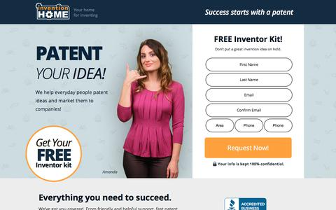 Screenshot of Landing Page inventionhome.com - Patent Your Idea | InventionHome - captured July 19, 2018