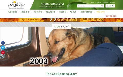 Screenshot of About Page calibamboo.com - Our Story - CaliBamboo GreenShoots - captured Oct. 21, 2015