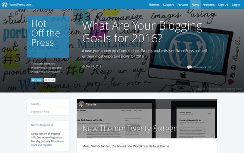 Screenshot of Blog wordpress.com - WordPress.com News - captured Dec. 16, 2015