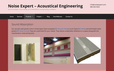 Screenshot of Products Page noiseexpert.com - Products - Noise Expert – Acoustical Engineering - captured Dec. 2, 2016