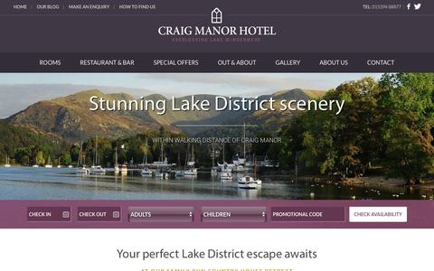 Screenshot of Home Page craigmanor.co.uk - Craig Manor Hotel - Hotel in Bowness on Windermere - captured Feb. 1, 2016