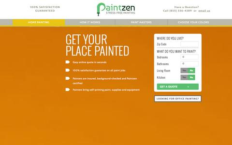 Screenshot of Home Page paintzen.com - Painting New York | Home and Office Painting Services | NYC Painters | Paintzen - captured Sept. 19, 2014