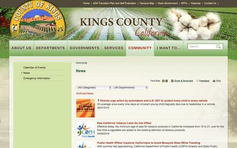 Screenshot of Press Page countyofkings.com - Kings County : News - captured June 26, 2016