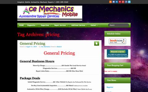 Screenshot of Pricing Page acemobileauto.com - pricing Archives - Ace Mechanics Mobile Auto Repair Services - captured Nov. 2, 2014