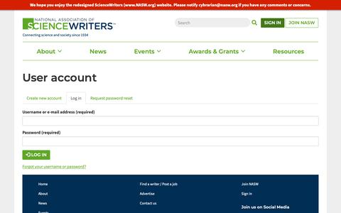 Screenshot of Login Page nasw.org - User account   ScienceWriters (www.NASW.org) - captured Oct. 18, 2018