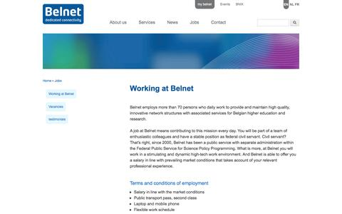 Screenshot of Jobs Page belnet.be - Working at Belnet | www.belnet.be - captured June 1, 2017