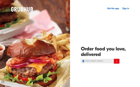 Screenshot of Home Page grubhub.com - Food Delivery | Restaurant Takeout | Order Food Online | Grubhub - captured Aug. 29, 2018