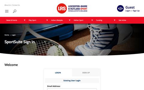 Screenshot of Login Page lrsport.org - SportSuite Sign In | Leicester-Shire & Rutland Sport - captured Jan. 25, 2018