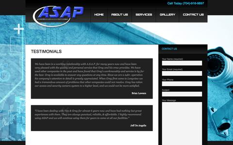 Screenshot of Testimonials Page asapcarolinas.com - Testimonials | Automated Secured Access Professionals | Charlotte NCAutomated Secured Access Professionals | Charlotte NC - captured Oct. 4, 2014