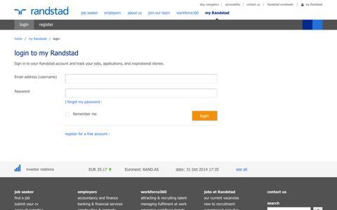 Screenshot of Login Page randstad.co.uk - login | Randstad.co.uk - captured Nov. 1, 2014
