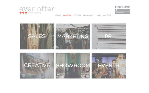 Screenshot of Services Page everafteragency.co.uk - services | ever after - captured Oct. 3, 2014