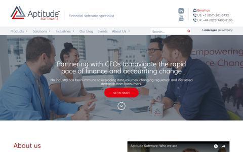 Screenshot of About Page aptitudesoftware.com - About us - Aptitude Software - captured Jan. 20, 2018