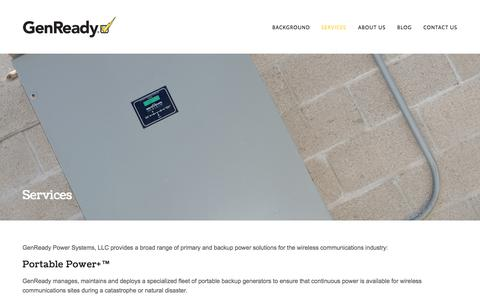 Screenshot of Services Page genready.net - Services — GenReady Power Systems - captured Oct. 2, 2014