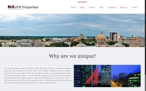 Screenshot of About Page ucrproperties.com - About | NAI UCR Properties - captured Nov. 18, 2016