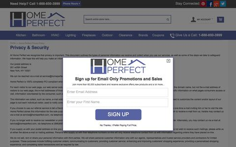 Screenshot of Privacy Page homeperfect.com - Home Perfect Privacy Policy - captured July 15, 2016