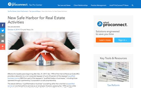 Screenshot of Press Page intuit.com - New Safe Harbor for Real Estate Activities | Tax Pro Center | Intuit ProConnect - captured Nov. 21, 2019