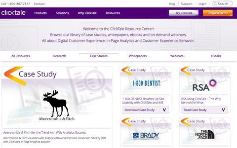 Screenshot of Case Studies Page clicktale.com - Case Studies - captured Oct. 28, 2014