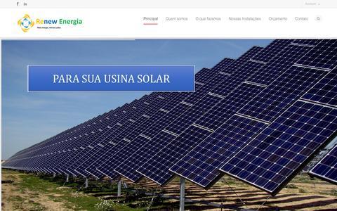 Screenshot of Home Page renewenergia.com.br - RENEW Energias Renováveis   EFICIÊNCIA E SUSTENTABILIDADE POR UM MUNDO MELHOR - captured Feb. 25, 2016