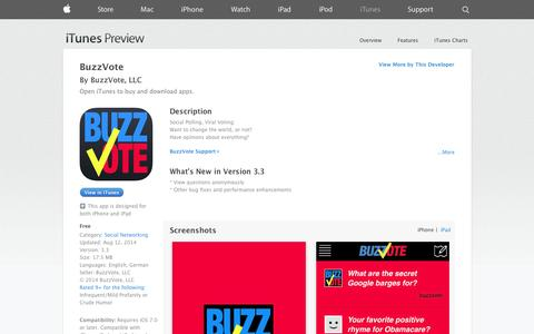Screenshot of iOS App Page apple.com - BuzzVote on the App Store on iTunes - captured Oct. 22, 2014