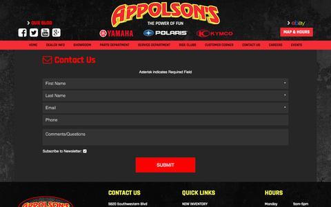 Screenshot of Contact Page appolson.com - Contact Us   Appolson's   Hamburg New York - captured Nov. 21, 2016