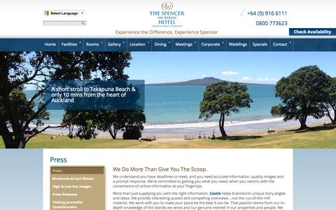 Screenshot of Press Page spencerhotel.co.nz - Press for The Spencer on Byron Hotel | Castle Resorts & Hotels - captured Oct. 6, 2014