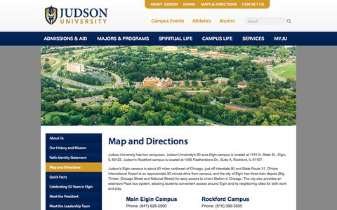Screenshot of Maps & Directions Page judsonu.edu - Map & Directions | Judson University Christian College - captured Oct. 6, 2014