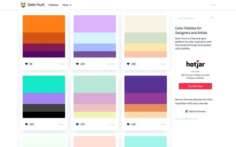 Screenshot of Home Page colorhunt.co - Color Hunt - Color Palettes for Designers and Artists - captured Sept. 20, 2018