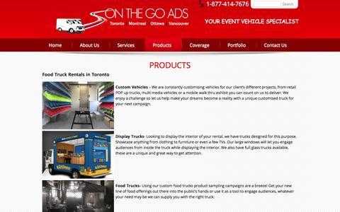 Screenshot of Products Page onthegoads.ca - Corporate Food Truck Rentals | Mobile Billboard Truck Toronto - captured Oct. 9, 2014