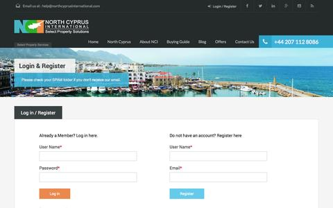 Screenshot of Login Page northcyprusinternational.com - Login - North Cyprus International Properties - captured Oct. 7, 2014