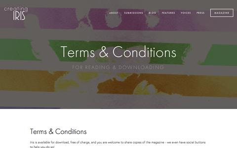 Screenshot of Terms Page creatingiris.org - Terms & Conditions Ń Creating Iris | A Literary Magazine for LGBTQ+ Young Adults - captured Dec. 13, 2015