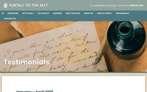 Screenshot of Testimonials Page portalstothepast.co.uk - Portals to the Past | Testimonials - Portals to the Past - captured July 20, 2018