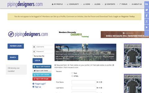 Screenshot of Signup Page pipingdesigners.com - Sign up - captured Jan. 28, 2016