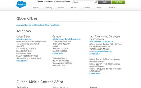 Screenshot of Locations Page salesforce.com - Salesforce.com CRM Global Locations - Salesforce.com - captured Oct. 10, 2014