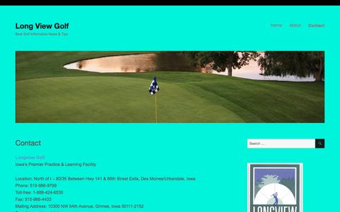 Screenshot of Contact Page longviewgolf.com - Contact – Long View Golf - captured July 3, 2018