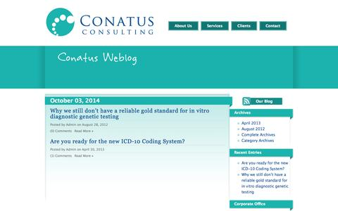 Screenshot of Blog conatusconsulting.com - Conatus Consulting - Biotechnology, Pharmaceutical, Medical Device and Life Sciences Consulting - captured Oct. 3, 2014