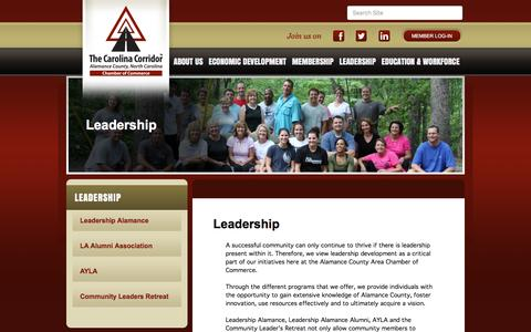 Screenshot of Team Page alamancechamber.com - Leadership - Alamance County Area Chamber of Commerce, NC - captured March 5, 2016