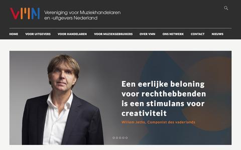 Screenshot of Home Page vmn.nl - VMN | Vereniging voor Muziekhandelaren en -Uitgevers Nederland - captured Aug. 12, 2015