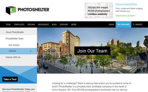 Screenshot of Jobs Page photoshelter.com - Careers | PhotoShelter - captured Oct. 10, 2014