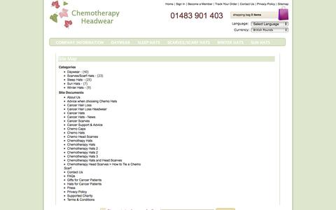 Screenshot of Site Map Page chemotherapyheadwear.com - Chemotherapy Headwear > Chemo Head Scarves, Chemotherapy Hats UK, Hats for Cancer Patients, Head Scarves for Cancer Patients UK, Cancer Scarves, Chemo Hats & Chemotherapy Head Scarves, Chemo Hats & Scarves for Cancer Hair Loss - captured Sept. 29, 2014