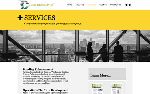 Screenshot of Services Page boldconcepts.com - Boldconcepts | SERVICES - captured Oct. 10, 2017