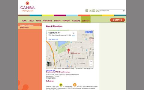 Screenshot of Maps & Directions Page camba.org - CAMBA                                       Map & Directions - captured July 10, 2016