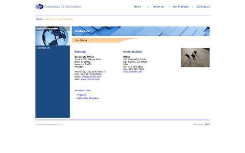 Screenshot of Contact Page comintl.com - Commerce International - Pakistan - captured Oct. 2, 2014