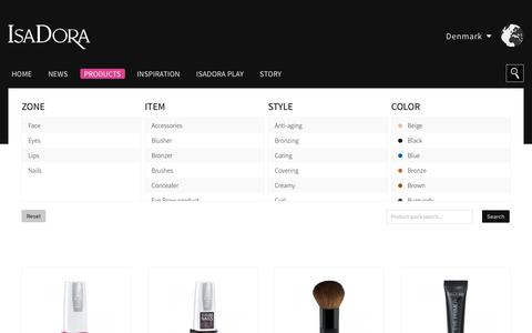 Screenshot of Products Page isadora.com - Products   IsaDora Global   - captured Sept. 25, 2018